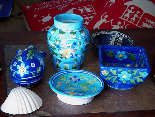 collection of Indian blue pots