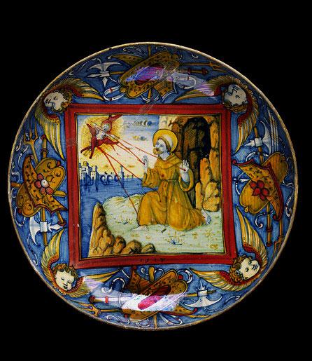 St. Francis receiving the stigmata, majolica plate by Maestro Giorgio Andreoli