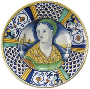 Italian Majolica dish with female bust motif
