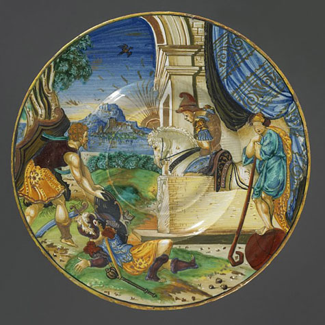 Majolica hand painted plate by Francesco Xanto Avelli