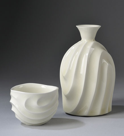 Ono Kotaro White ceramic sake bottle and cup