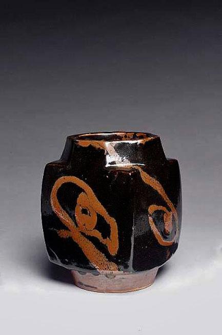 Shoji-Hamada-----jar,-tenmoku-glaze-and-kaki-trailed-slip