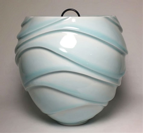 Ono Kotaro Ceramic vessel with frosted teal green colour glaze wavy textured surface