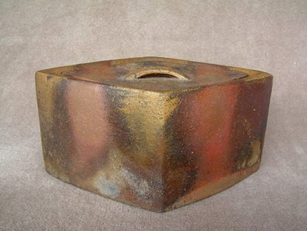 Urakami Zenji - raku lidded box - earth tones