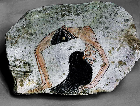 Egyptian Yoga wall relief art of an Egyptian girl doing stretching pose