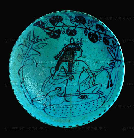 Ancient Egyptian Bowl in blue faience with drawn image of a woman