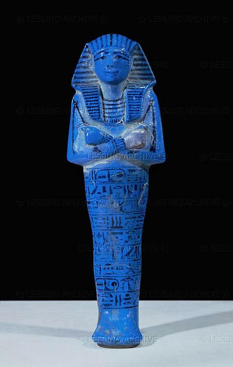 Blue Ushebti figure of Pharaoh Seti I