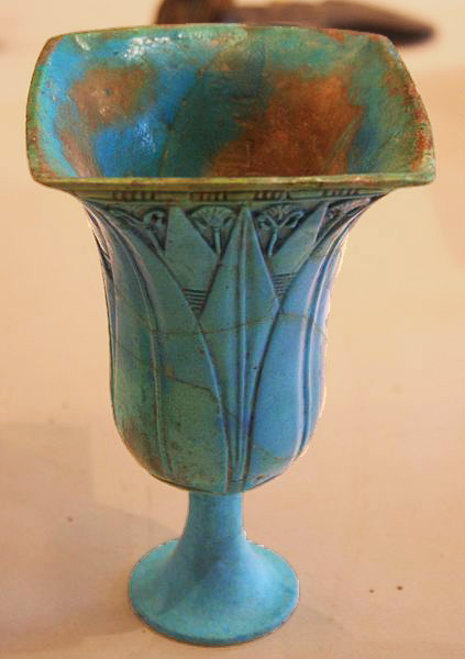 Egyptian Chalice Lourve with lotus decoration  22nd Dynasty, 945-715 BC