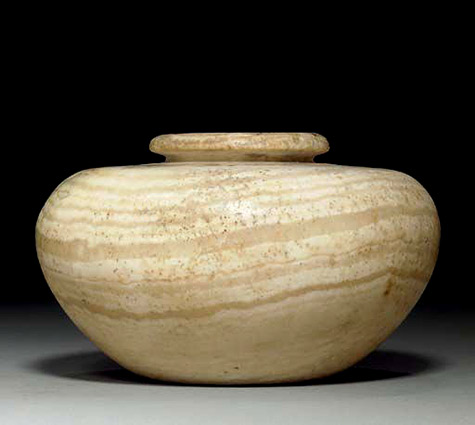 Egyptian alabaster jar with lid