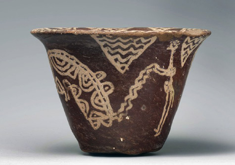 Bowl with scene of a man hunting a hippopotami-Late Naqada-I–-early Naqada-II