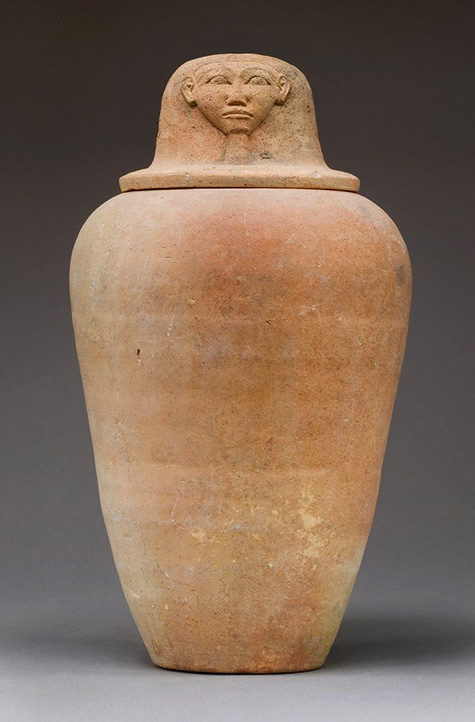 Canopic Jar with an Image Representing the Hieroglyph for Face Period New Kingdom Dynasty-18