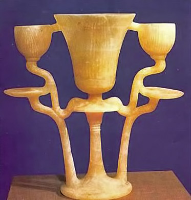 Egypt,-New-Kingdom.-Triple-lamp-carved-from-a-single-piece-of-alabaster