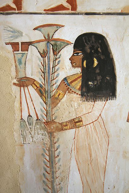 Wall relief art of Egyptian woman Tomb of Menna-,-Luxor-,-Egypt