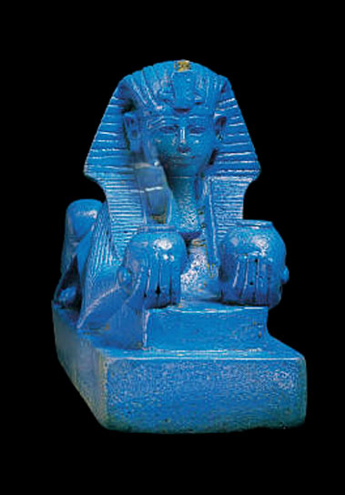 blue Sphinx Amenothep-III ceramic statue