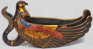 Egyptian Horus falcon ritual vessel