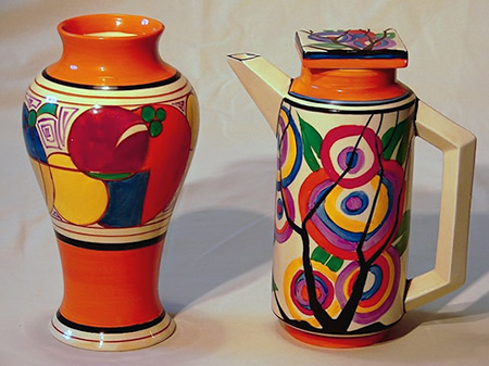Clarice Cliff vase and coffee pot in art deco style
