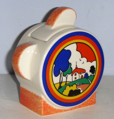 Huntley Cottage sugar vessel by Clarice Cliff