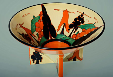 Large footed conical Art Deco handpainted bowl designed by Clarice Cliff