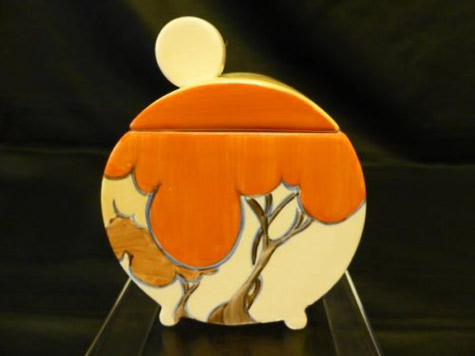 Clarice-Cliff-'Orange-Autumn'-Bonjour-Preserve-Pot
