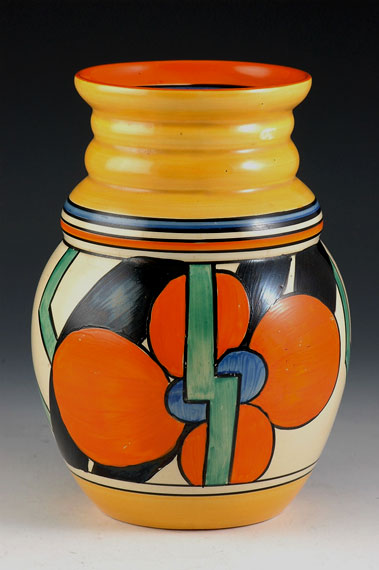 Clarice-Cliff-Picasso-Flower-vase with ribbed neck
