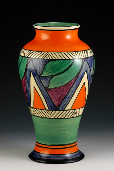 Clarice Cliff Meiping Vase in red, green, blue and white