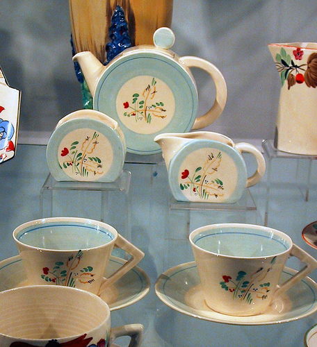 Claire Cliff tea set - cream and pale blue colour - teapot, creamer, sugar bowl, teacups