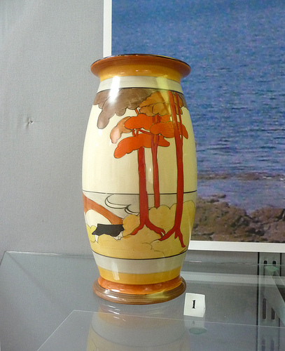 Bizarre Ware Coral Firs vase Art Deco by Clarice Cliff