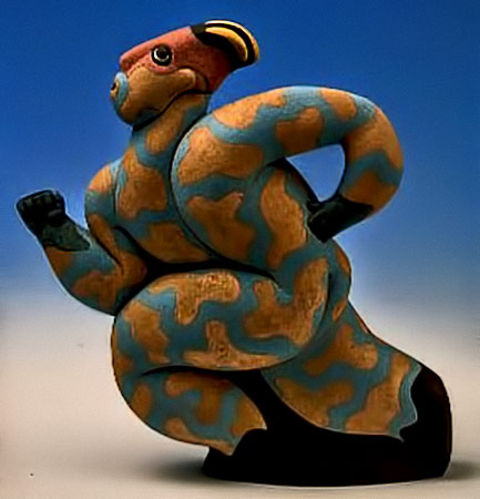 Blue-and-Yellow-Running-Man ceramic teapot sculpture---Tony-Bennett