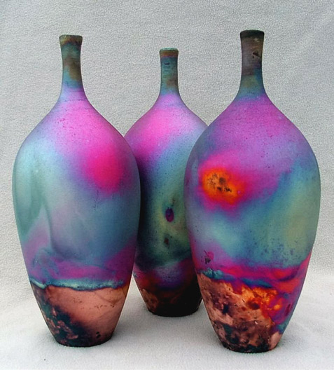 Raku Copper Matt Bottles by Chris Hawkins