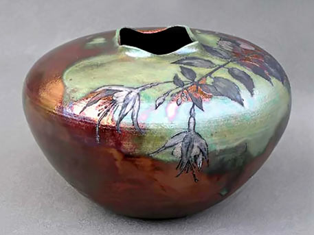 Hand carved Fuscia Vessel by Christopher Mathie