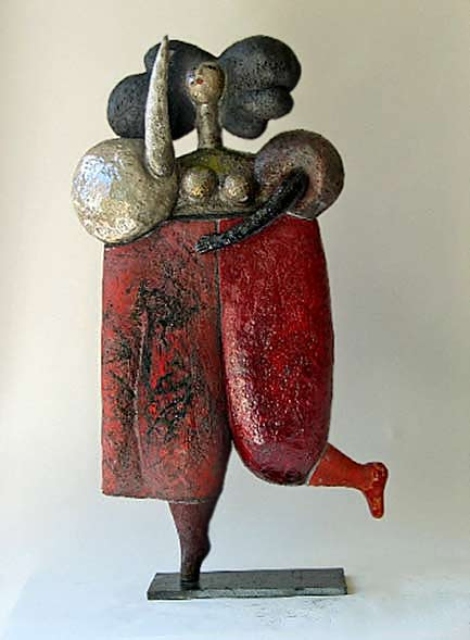 raku lady in baggy red pants hopping by Roger Capron