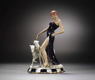 Royal-Dux-figure-37cm Art Deco lady in a black gown walking two white greyhounds