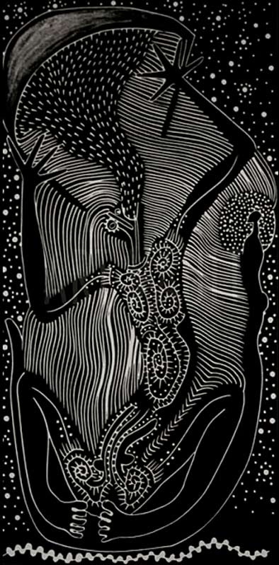 Star-Ark---Arone-Meeks black and white Australian aboriginal art