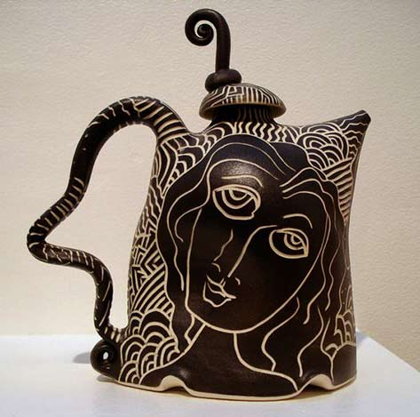 Whimsical-black-and-white-teapot-~-Fuller-Craft-Museum