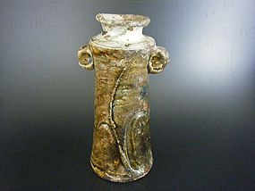 Chosen-Karatsu Vase by Ohashi Yutaka with two lug handles