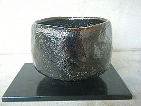 Black Raku Chawan by Ito Saibei