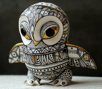 Anya Stasenko and Slava Leontiev hand painted porcelain owl