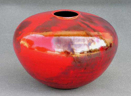 Red Raku Vessel by Christopher Mathie