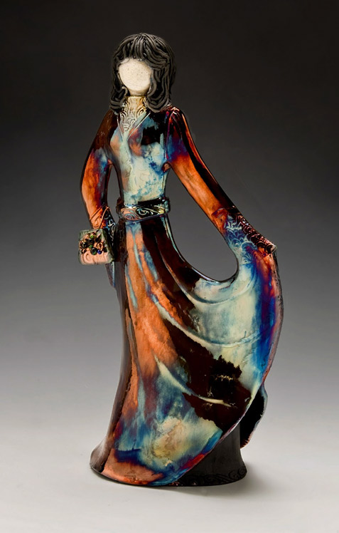 Dancer Raku fired figurine, Charlotte Munning