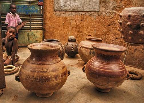 Selection of different tribal clay pottery
