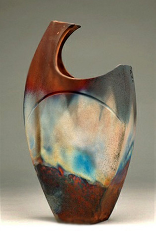 shaun-hall-raku vessel with asymmetrical shape