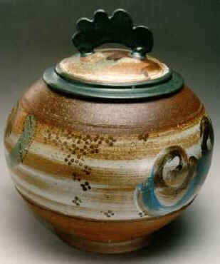 Lidded vase, white slip and cobalt-green glaze
