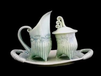 Whimsical creamer and sugar bowl Nancy Adams