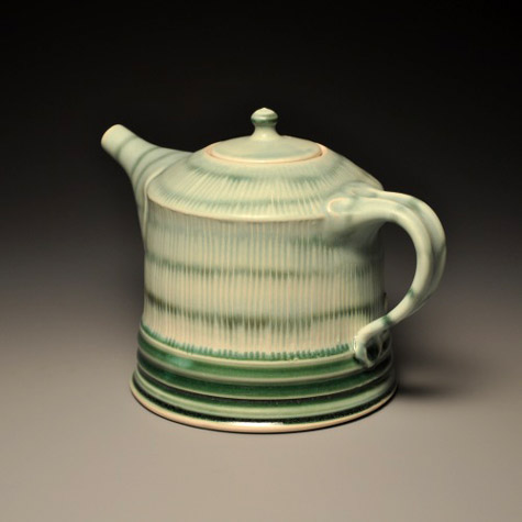 Lucia Pottery green teapot