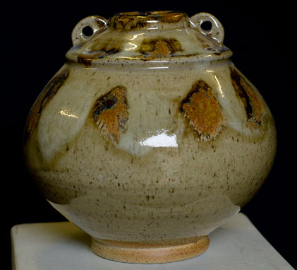 Woodfired ceramic vessel by David Fry light olive green with orange motifs