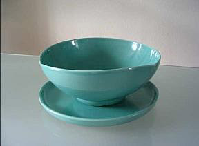 Matching green colour ceramic bowl and plate by Willem Stuurman