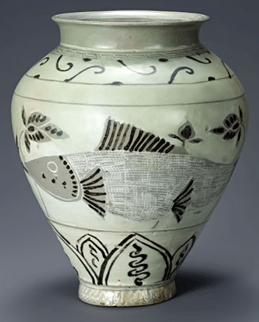 Vase - Korean National Treasure No. 787 uses inlay, stamping and iron painting