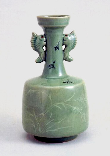Korean Celedon bottle with twin fish handles