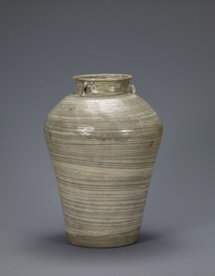 Buncheong jar with brushed white slip