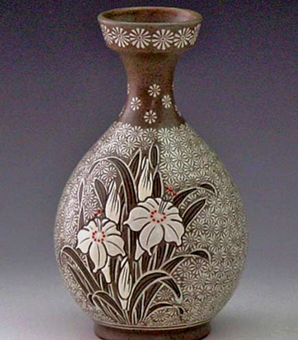 pottery-bottle-with-buncheong-inlaid-white-lily-design-antique-alive